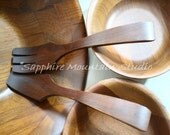 Vintage SOLID BLACK WALNUT Wooden Salad Bowl Serving Set, Entertaining, Father's Day, Made in usa