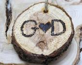 RUSTIC WOOD SLICE Photography Prop, God, Heart, Wood Burned Keepsake, Ornament, Decoration