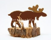 MONTY MONTANA MOOSE in Miniature with Rustic Riser Base, Great Father's Day Gift