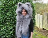 Wolf Snoogie Scoodie. Furry fluffy Hooded snuggle hood with scarf and ears. Luxury Faux Fur Hoodie, fleece lined