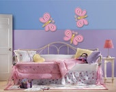 "Wall stickers pink butterflies printed on high quality  kindergarten 3 pieces / pack of stickers size: 15 ""x 10"" ( 38cm x 25.5 cm)"