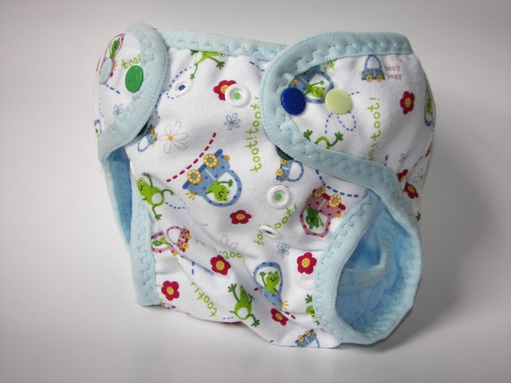 TootToot Knit over Baby Blue PUL Diaper Cover with leg gussets and baby blue FOE (S-M)