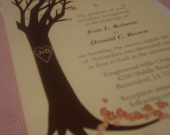 Fall Tree Wedding Invitation with RSVP