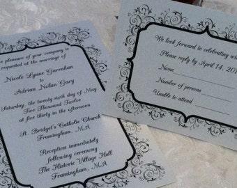 Black & White Vintage Damask Wedding Invitation with RSVP