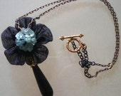 cute pendant necklace trendy young delicate black flower onyx teardrop - NECKLACE LARA - handmade with love