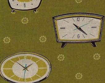 Kokka Japanese Fabric Melody Miller Ruby Star Shining - 201a Green Clocks - 1/2 yard cotton linen blend fabric 516