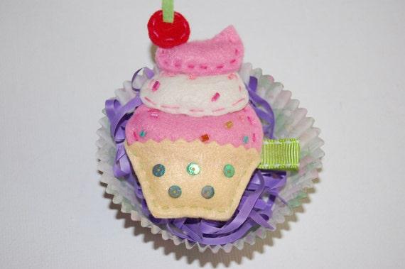 Pink Cupcake Toddler Hair Clippie Hair Bow