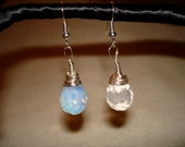 Reserved Opalite briolette earrings with silver wire wrapping