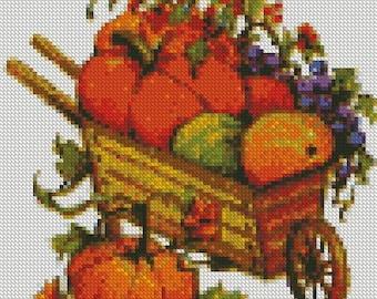 Autumn Harvest Cart Cross Stitch Pattern