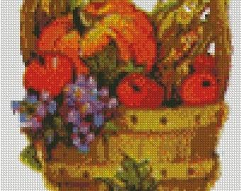 Autumn Harvest Basket Cross Stitch Pattern