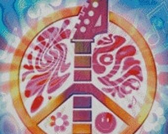 Peace, Love, & Music Cross Stitch Pattern