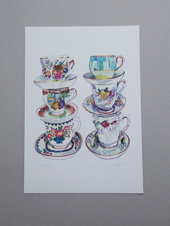 Vintage Teacups Illustration in Watercolour - an A4 Giclee Print