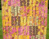 Floral Lap Quilt - Pink, Brown and Yellow