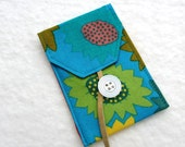 Turquoise Card Case / Business Card / Fabric Gift Card