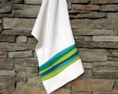Modern Kitchen Towel, Lime Green, Teal Blue Hand Towel