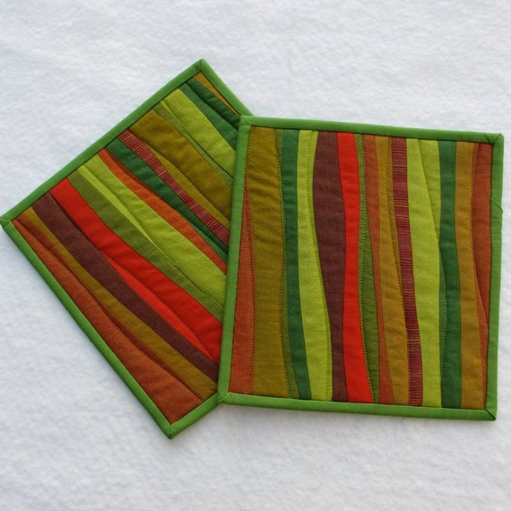 Quilted Pot Holders - Green, Gold, Orange (set of 2)