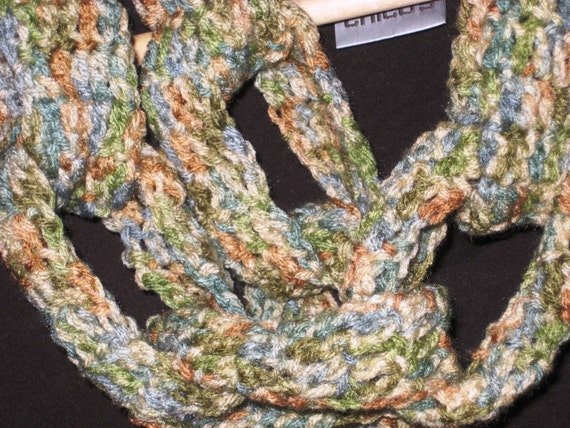 Chain Link Infinity Scarf its Chunky Funky, Neutral Colors of Rust,Tans, Blues, Greens.  Free Shipping