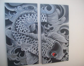 Black and white koi painting on sale today only