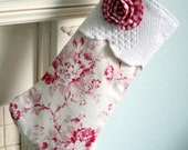 Vintage matelasse white background and red roses with ruffled gingham rose