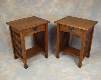 Handmade Mission Oak Spindle Nightstand Free Shipping