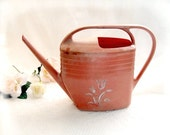 Vintage Watering Can - peach pink plant waterer, retro plastic vase  garden tool 70s