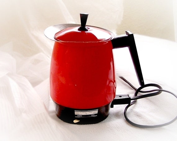 Vintage Red WEST BEND Hot Pot -  all metal electric tea pot, coffee warmer, coffee pot , food warmer 1970s red kitchen decor