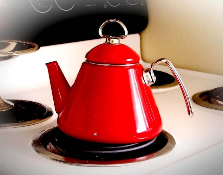 Vintage Teapot Chantal Retro Red Tea Kettle By Thewhitepelican