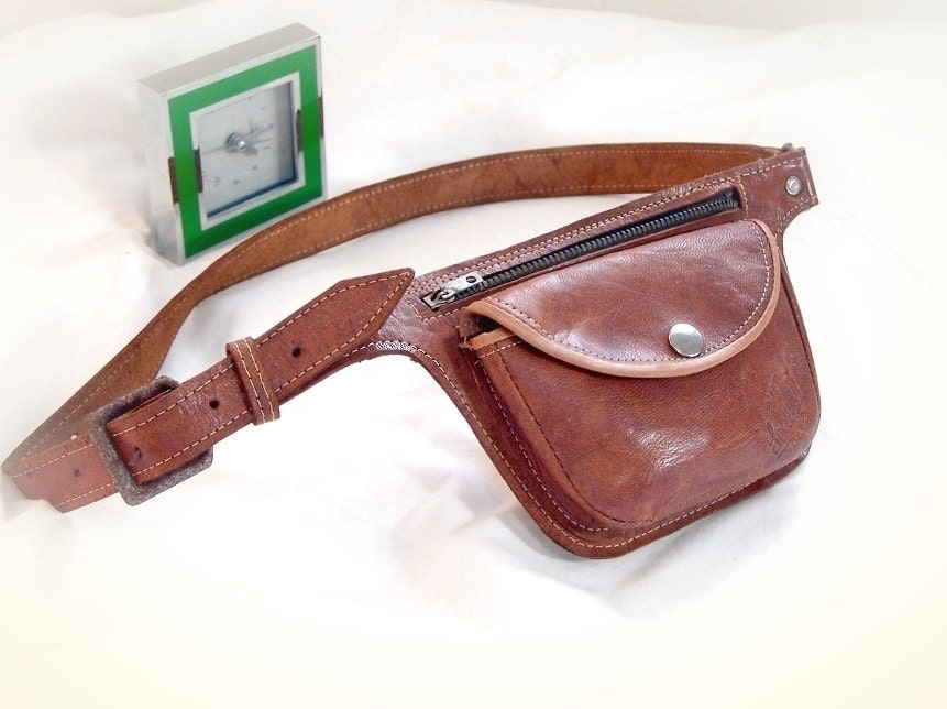 vintage leather hip bag purse leather belt bag by
