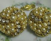 Vintage Gold-Pearl Clip Earrings-Destash, Repair, Repurpose,Craft or Jewelry Supplies, Jewel Tree