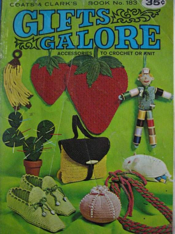Vintage Coats and Clark No. 183 Gifts Galore-Strawberry Potholder,Handbag, Slippers, Belt, Hanger