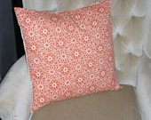 Decorative Accent Pillow Cover - 20 x 20 - Tangerine Orange & Cream Colored Floral Contemporary