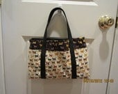 ON SALE - Adorable Six Pocket Tote with Cat Print Fabric Theme