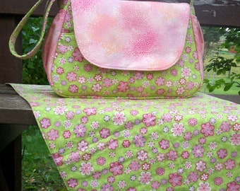 Handmade Baby Girl Diaper Bag with Detachable Changing Pad
