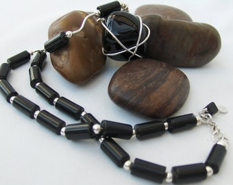 Apache Tears, Balck Onyx & Sterling Silver Necklace