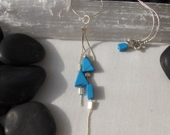 Turquoise and Sterling Silver Tassel Necklace
