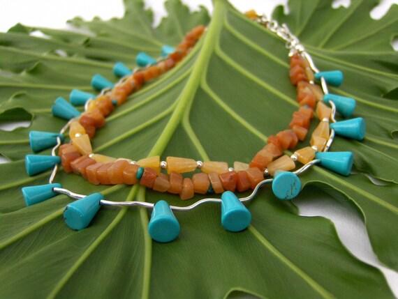 Turquoise, Mandarin, Spessartine Garnet Natural Gemstone & Sterling Silver Necklace