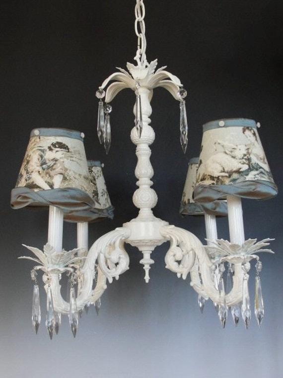 shabby chic lighting cottage chandelier custom light fixture. Black Bedroom Furniture Sets. Home Design Ideas