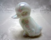 Fenton Duckling in Mother of Pearl (aka Iridized Opal)