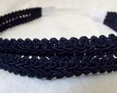 Navy Blue Headband, Stretchy Headband, Double Rope Headband