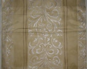 Designer Fabric Upholstery/Drapery Beacon Street Pattern in Pale Gold and Silver