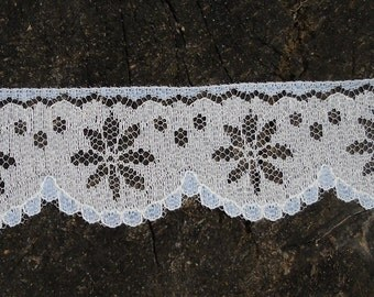 """Vintage Lace - Bridal Lace, Dajinet Lace, White & Blue Scalloped, Lingerie Lace, Nalpac Company Montreal Canada, 5 1/2 Yds 1 1/2"""" Wide"""