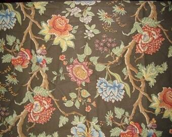Designer Fabric Gorgeous Duralee Sample Rich Florals on Chocolate Brown Cotton