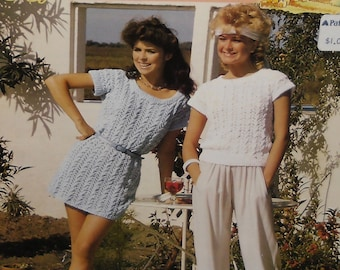 Vintage Knitting Patterns Patons 7124, 8204, 9961 Womens Sweaters 1980s