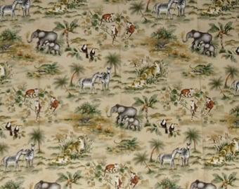 Designer Fabric Duralee Sample Novelty Jungle Pattern Color - Beige 100% Cotton