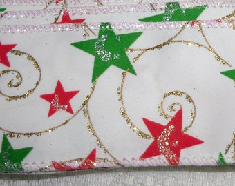 "Fabric Ribbon with Green and Red Stars and Gold Detailing Wire Edges 2"" Wide, 4 Pieces, 3 Pieces 3 Yards Long and 1 Piece 82"""