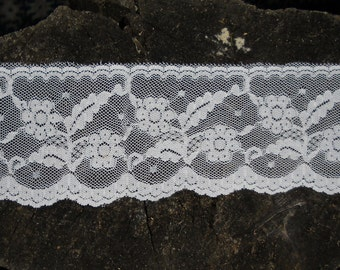 "Vintage White Lace Trim  5 Yards 2 1/4"" Wide -  Dajinet Lace from the Nalpac Company - Valentine Day Supplies"