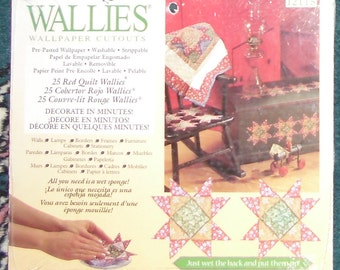 Wallies Wallpaper Cutouts / 25 Red Quilt Wallies 12115 / Crafts, Scrapbooking