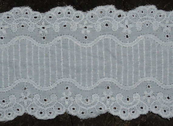 "Vintage Trim - Laces Limited - French Scalloped Trim - Cotton Trim - Pale Blue -  Embroidered Trim -  2 3/4"" Wide 69"" Long"