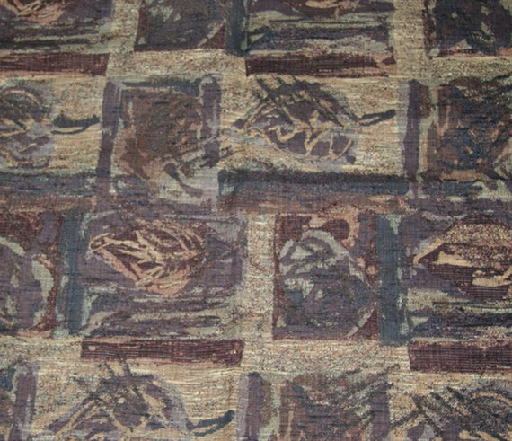 Vintage Fabric Material Upholstery Rich Colors Abstract Design