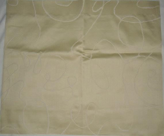 Designer Fabric Upholstery/Drapery Ocean Pattern in Pale Gold and White